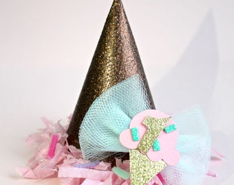 Pink Ice Cream Cone MINI Birthday Party Cake Smash Hat / Headband w/ Sprinkles & Mint Bow Gold Glitter Number Dog Cat Pet