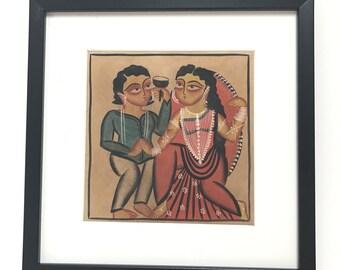 Kalighat Painting on Handmade Paper-1 (Framed)