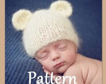 Knitting Pattern For Teddy Bear Hat : Bear beanie pattern Etsy