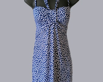 Dress / dots / blue / white / spaghetti straps / Halter / summer / Quebec creations / tunic / straight / space collection.