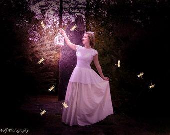 "Ivory wedding dress ""Lila"", open back, lace"