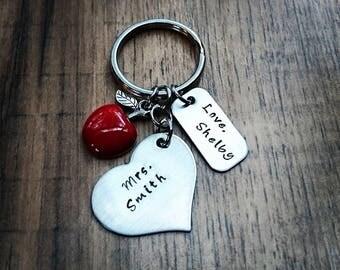 Hand Stamped Teacher Keychain - Teacher Gifts - Personalized Teacher Gift - Best Teacher Ever