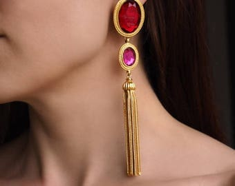Vintage Ben Amun Chain Tassle Earrings With Red and Fuchsia Stones