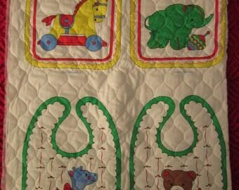 Vintage Baby Bibs Nursery Stuff Toys Quilted Calico Fabric Panel Unused