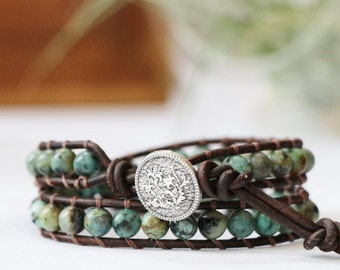 Healing Stone Wrap Bracelet - African Turquoise