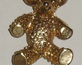 Gold Tone Teddy Bear Pin Brooch 1 1/4 Inch Vintage Costume Jewelry