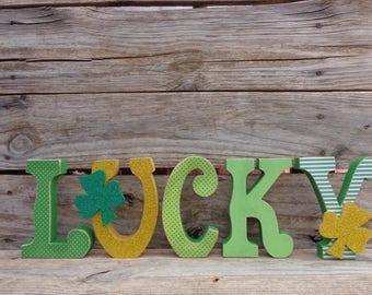St. Patricks Decor- Spring Decor- Shamrock Decor- Lucky Letter Set