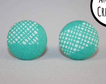 Aqua Fabric Covered Button Stud Earrings - Hypo-Allergenic Surgical Steel