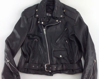 1990'S LEATHER  MOTORCYCLE JACKET / Heavy Quality Leather / Excellent Condition / Size Large 42REG