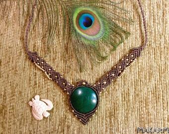 Royal Necklace Malachite Gemstone Tribal Necklace Women Boho Bohemian Necklace Goddess Macrame Necklace Tribal Native American Jewelry
