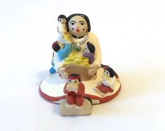 Vintage Pueblo Indian Miniature Storyteller Pottery Figurine, 7 Children Eating Corn, Miniature Native American Art Pottery Storyteller