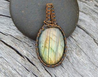 Labradorite necklace, wire wrapped pendant, boho gifts, labradorite jewelry, gemstone necklace, labradorite pendant, wrapped labradorite