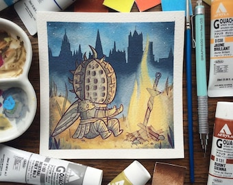 Dark Souls Watercolor Print by Michelle Coffee