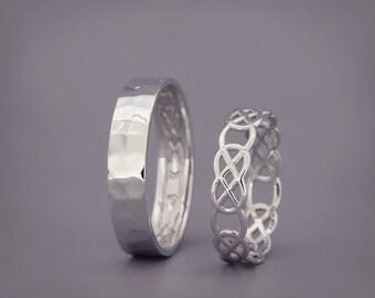 14K White Gold Celtic Knot Wedding Rings Set | Handmade 14k white gold Celtic wedding Rings | His and Hers Wedding Bands Set
