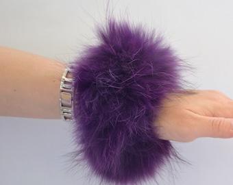 Real fur scrunchies, purple fur fox elastics, real fur bracelet, real fur hair scrunchies, fur bangle, real fox fur fashion bangle.