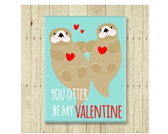 Valentine Gift, Love Magnet, Funny Magent, Refrigerator Magnet, Otter Gift, Otter Art, Gifts Under 10, Small Gift, Valentine Magnets