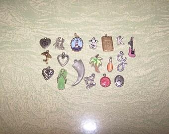 18 destash metal charms enameled flip flop sandal cow K G joy guitar B palm tree heart flower
