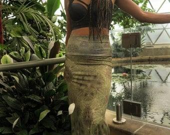 Fern Forest long skirt, maxi skirt, dress skirt, high waist skirt, sacred geometry skirt, long flowing skirt, gypsy skirt, festival skirt,