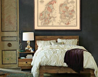 """Map of Scandinavia 1870, Vintage India  map reprint  - home decor  - 3 color choices & 4 large/XL sizes up to 48"""" x 36"""""""