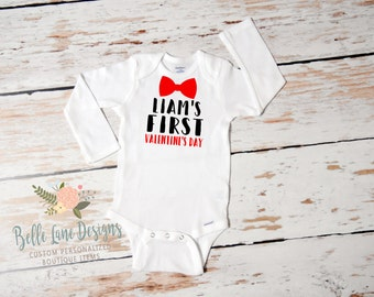 Baby Boy First Valentine's Day with Name Onesie | First Valentine's Day | Baby Boy Valentine Outfit | First Valentine Outfit for Boy | 163