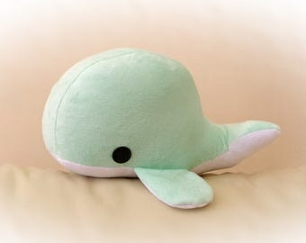 Baby Whale Pillow, Toy Pillow, 3D Pillow, Stuffed Animal, Nautical Decor, Beach House Decor