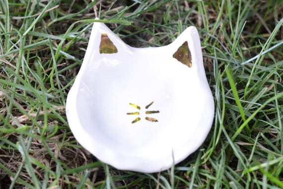 Real Gold Cat Dish - Spoon Rest