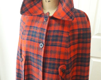 Vintage Pendleton Tartan Wool Plaid Cape Cloak Coat Pendelton