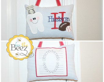 Boys Tooth Fairy Pillow, Personalized Tooth Fairy Pillow, Tooth Fairy Pillow, Tooth Fairy Pillow for Door, Boys Sports Tooth Fairy Pillow
