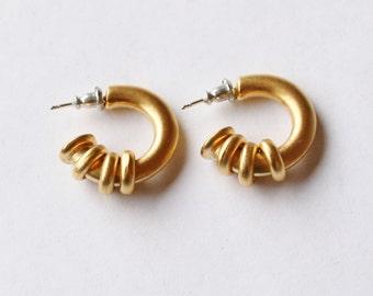 Matte Gold Semi-Hoop Earrings // Gold Plated Studs // 90's Vintage Hoop Earrings For Pierced Ears // Simple / Minimalist // Made in the UK