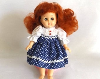 Vintage 1986 Ginny Doll - Red Head Vogue Doll - White and Navy Polka Dot Dress w Polka Dot Shorts - Pink Heart Stand