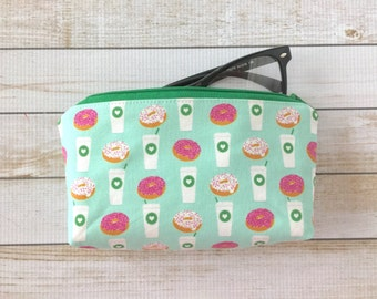 Coffee And Donuts Eyeglasses Case, Sunglasses Case, Reading Glasses Case, Zipper Pouch, Gift For Her, Mom, Coworker