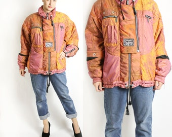 Vintage 80's 90's Pink Yellow Colorblock Ski Snowboarding Sports Jacket