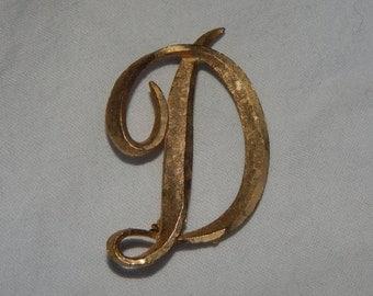 Vintage Initial D Brooch  Brushed Gold Tone Letter D  Vintage Mamselle Brooch