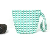 Plaid knitting bag with snaps, aqua and green one skein project bag, crochet storage