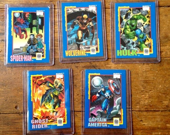 1991 Lot of Marvel Comics Trading Card Treats. Spider-Man, Wolverine, Captain America, Hulk, Ghost Rider. MT-9/10. Impel Marketing Company