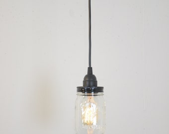 Mason Jar Industrial Pendant Light Lamp Black Vintage Rustic Canopy