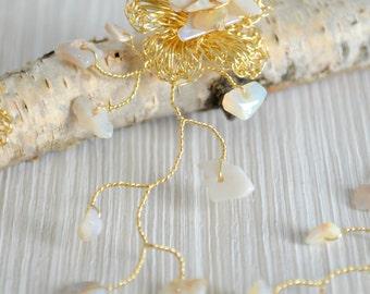 Set of Gold and Opal Bohoemian Hair Vine Accessories, Bridal Hair, Graduation Hair Accessory