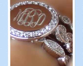 Monogram Ring, Sterling Silver Engraved Ring- Stackable CZ Ring