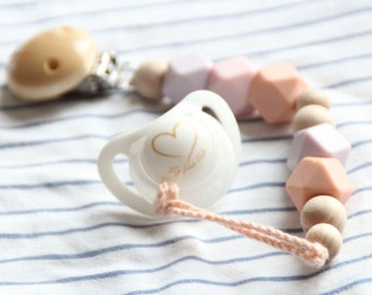 Pastel pink silicone pacifier clip / Dummy chain / Stylish teething pacifier holder / Beads are safe for teething