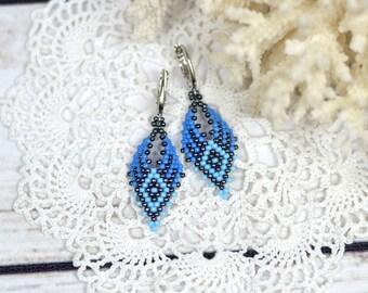 Blue earrings ethnic jewelry tribal earrings statement earrings handmade earrings gift for girlfriend jewelry gift for daughter gift/for/her