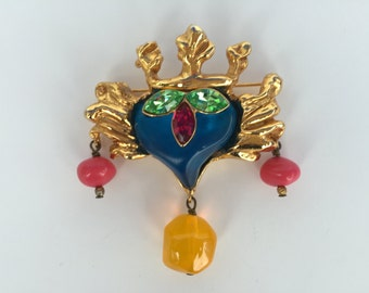 Christian Lacroix Vintage Baroque Rococo Heart Brooch Pin-Signed/Authentic
