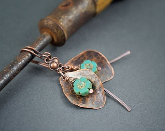 boho rustic earrings • floral earrings • hand hammered copper leave dangles • turquoise blue daisy earrings • oxidized copper • romantic