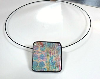 "Polymer Clay Pendant, Necklace, Handcrafted, OOAK, ""Mystic Pastels #1"
