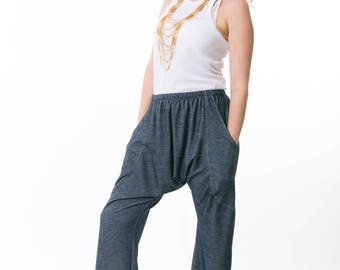 Drop-crotch Pants With Large Pockets, Womens Pants, Loose Pants, Comfy Pants, Low Crotch Pants, Black Or Blue