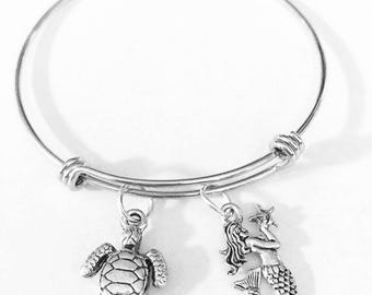 Gift For Her, Mermaid Sea Turtle Bangle Bracelet, Nautical Beach Bracelet Gift, Mother's Day Gift Wife Girlfriend Sister Mother Daughter