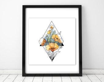Watercolour Poppy Illustration-Print, Tattoo Design, Wall Print, Bedroom decor, Wall Art