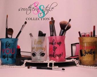 Makeup Brush Holder, Vanity Jars, Glitter, beYOUnique,hello gorgeous,wakeup & makeup,Lipstick Junkie