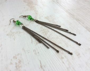 Long Drop Earrings. Chain Earrings. Green Earrings. Long Green Earrings. Light Earrings. Bronze Earrings. Elegant Earrings. Summer Earrings