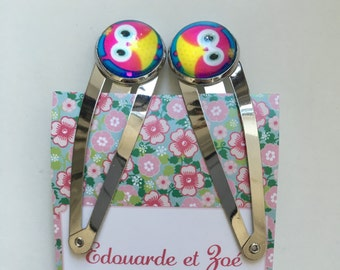 Set of 2 hair pins - owls