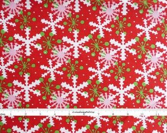 Green &  Red Snowflake Fabric, In The Beginning Fabric,  It's Christmas 7JHF1 Jennifer Heynen, Red Snowflake Quilt Fabric, Christmas Cotton